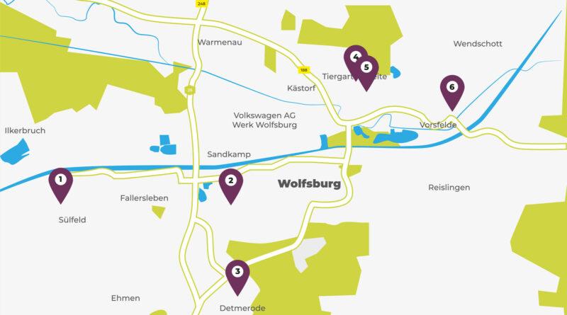 Abgeschlossene Nahversorungsprojekte in 2020 sind auf einer Stadtkarte von Wolfsburg mit Zahlen versehen