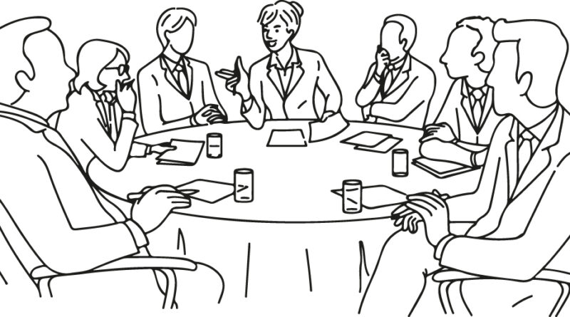 Illustration eines runden Tisches. Hier wird Gründen in Wolfsburg diskutiert und organisiert.