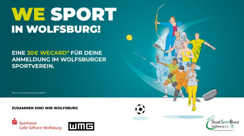 Plakat der We Sport Aktion zur Unterstützung der Wolfsburger Sportvereine